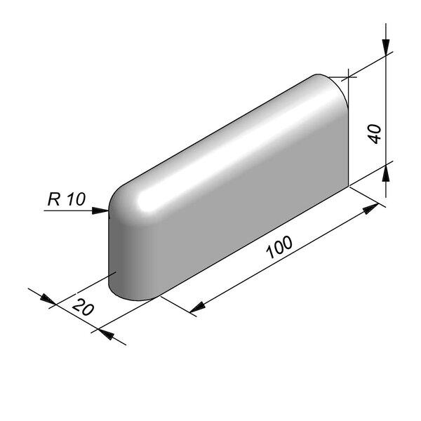 Product image for Bordure de séparation à dos arrondi Bordure convexe 100 cm x 40x20 cm avec 1 bout arrondi et 1 bout plane
