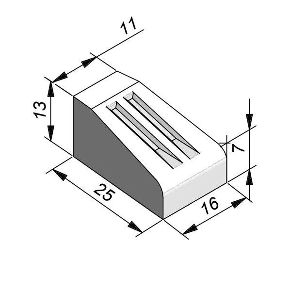 Product image for Bordure d'îlot Pièce courbe 13x25 cm 0,80 m extérieur
