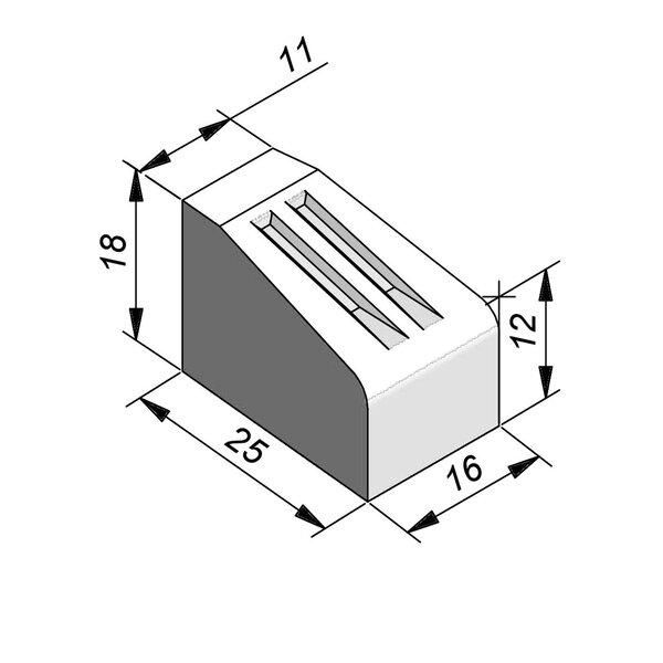 Product image for Bordure d'îlot Pièce courbe 18x25 cm 0,80 m extérieur