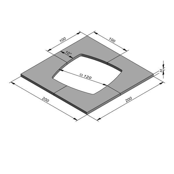 Product image for Boomrand 200x200 Diam120 4-delig megategel
