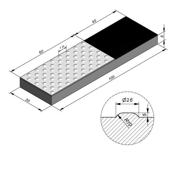 Product image for Dalle de guidage 100x30 cm 2/2 mm Dalle de quai avec Pastilles