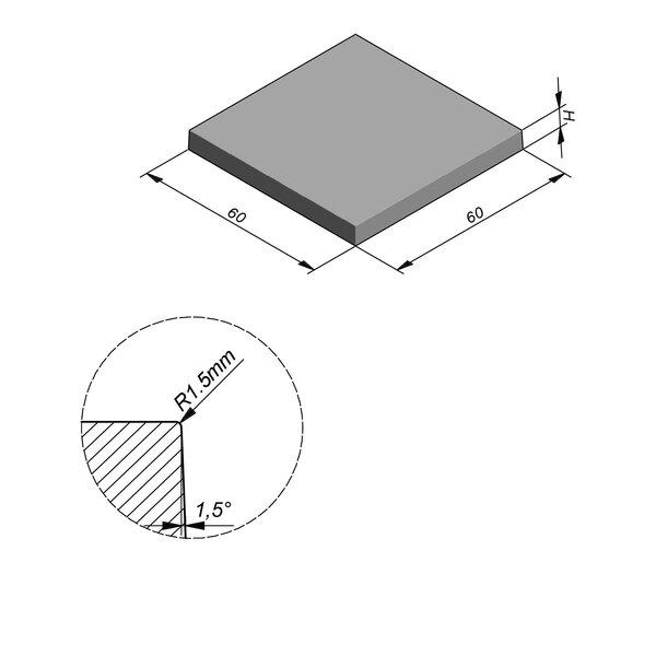 Product image for Megategel Smooth | Fluweelzacht 60x60 cm R1,5 mm
