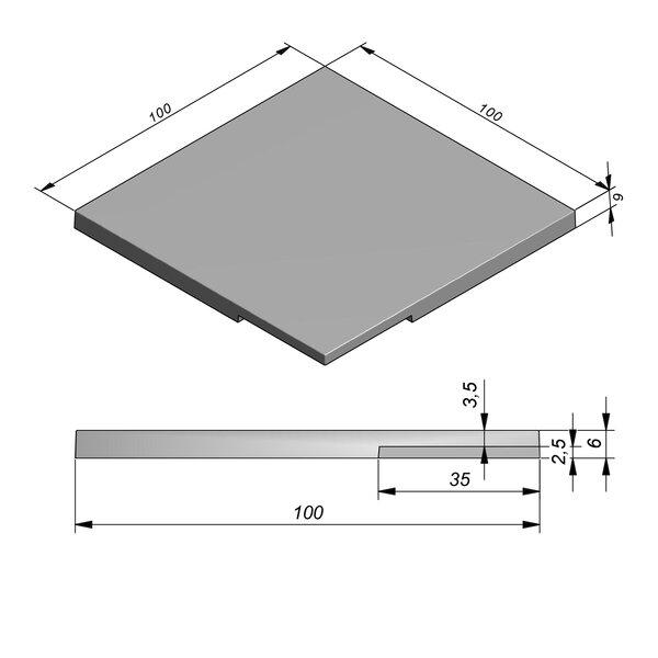 Product image for Zwembadrand Hoek Smooth | Fluweelzacht 100x100 cm R1,5 mm