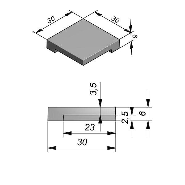 Product image for Zwembadrand Hoek Smooth | Fluweelzacht 30x30 cm R1,5 mm