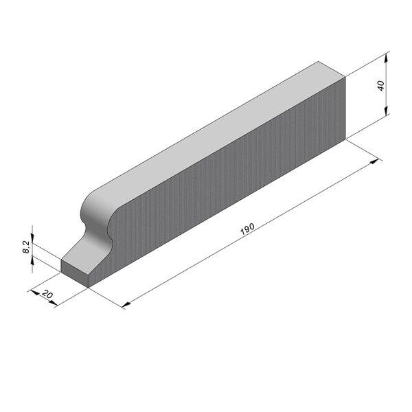 Product image for Bordure chasse-roues bas LS 8/40x190 Droit  élément I