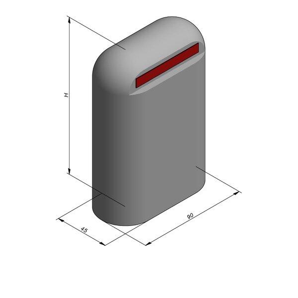 Product image for Bordure de séparation à dos arrondi Bloc Jumbo 131 cm x 90x45 cm avec Bande réfléchissante rouge 4,5cm