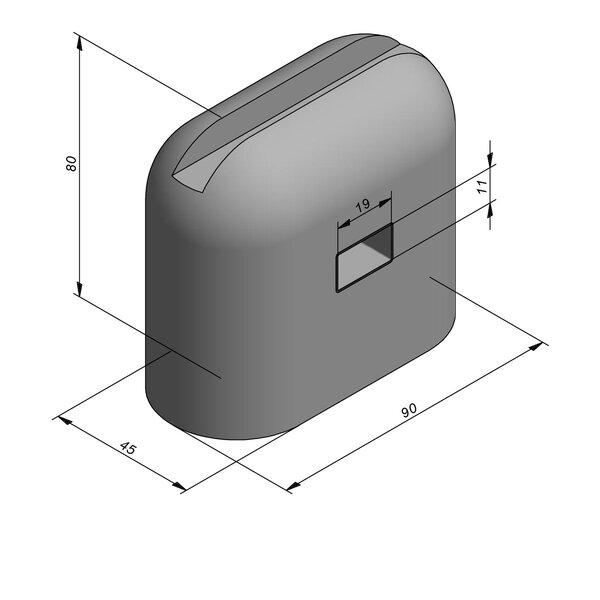 Product image for Bordure de séparation à dos arrondi Bloc Jumbo 80 cm x 90x45 cm  Met doorvoergat