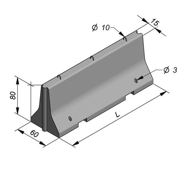 Product image for Bordure chasse-roues haut New Jersey 80x60 double face Droit  verrouillé