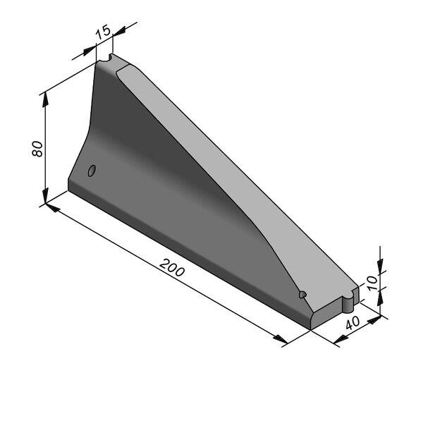 Product image for Bordure chasse-roues haut New Jersey 80x40 simple face Pièce d'arrêt Droite