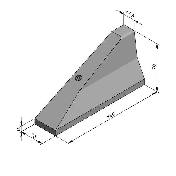 Product image for Bordure chasse-roues haut New Jersey 70x35 simple face Pièce d'arrêt Gauche