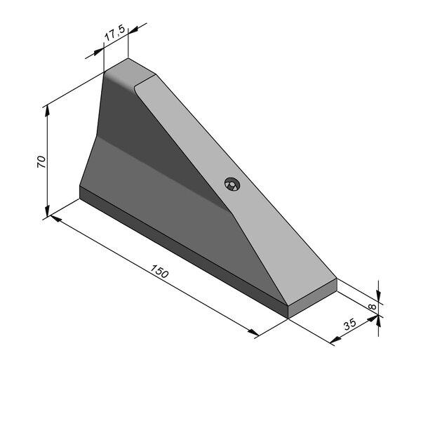 Product image for Bordure chasse-roues haut New Jersey 70x35 simple face Pièce d'arrêt Droite