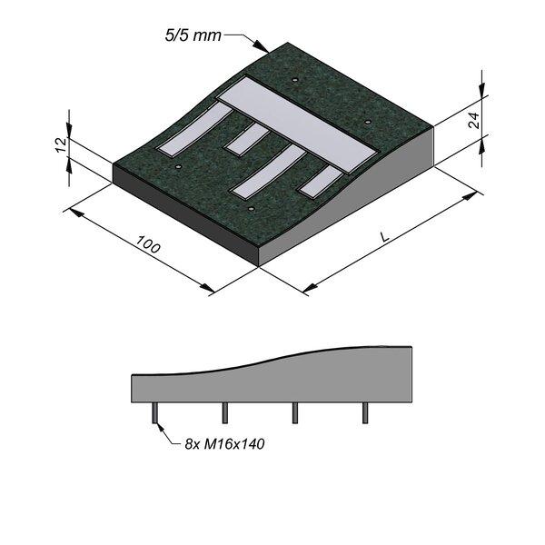 Product image for Ralentisseur Sinusoïdal 100 cm 0,5/0,5 cm Lignes en béton blanc