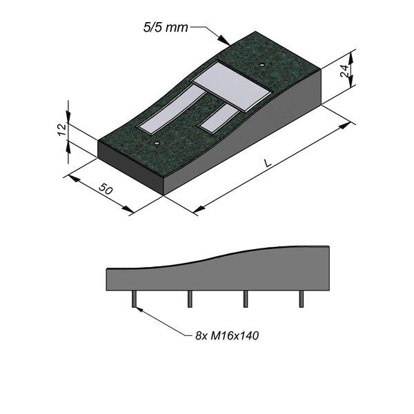 Product image for Ralentisseur Sinusoïdal 50 cm 0,5/0,5 cm Lignes en béton blanc