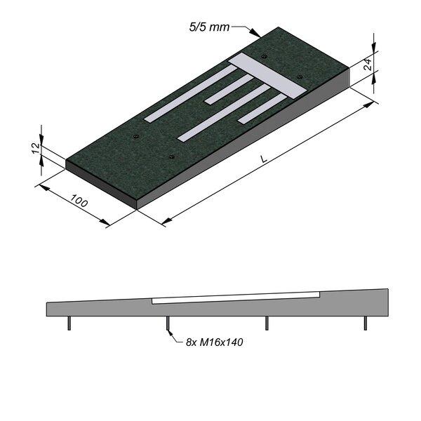Product image for Ralentisseur Trapezoïdal 100 cm 0,5/0,5 cm Lignes en béton blanc