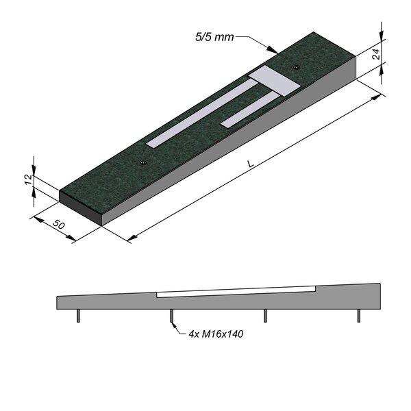 Product image for Ralentisseur Trapezoïdal 50 cm 0,5/0,5 cm Lignes en béton blanc
