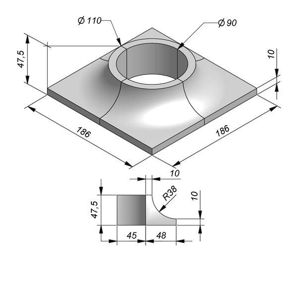 Product image for Boomrand 186x186 Diam90 4-delig type Hengelhoef