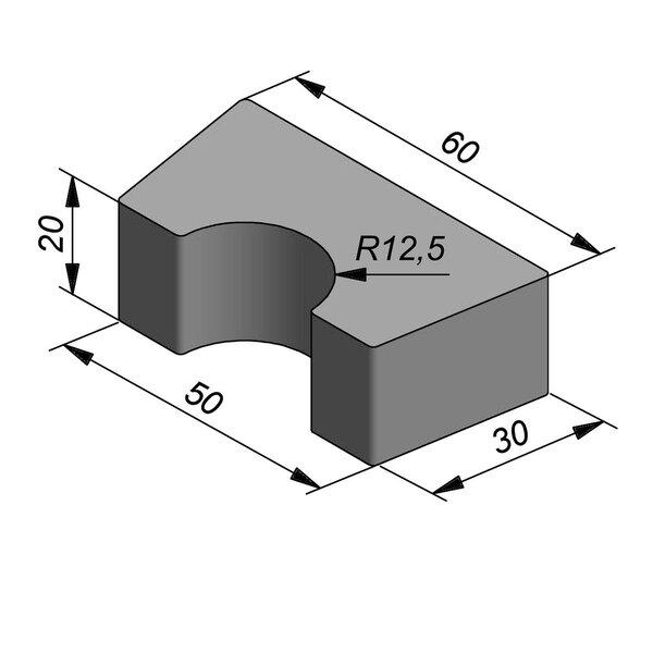 Product image for Bloc de fondation socle pour poteaux 50/60x20x30 cm R=12,5