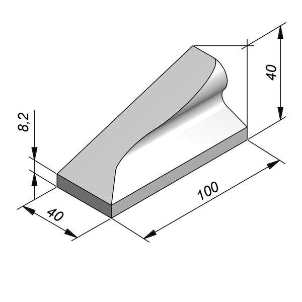 Product image for Bordure chasse-roues bas LS 40x40 type IVa1 Pièce d'arrêt Gauche élément D