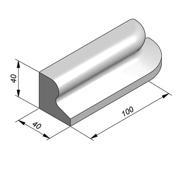 Product image for Bordure chasse-roues bas LS 40x40 type IVa1 Elément courbe Droite élément C