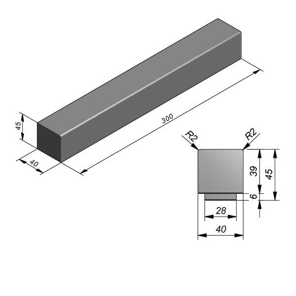 Product image for Objects Beam Soft Droit 288/300x28/40 cm (Lxl)x6/45 cm (H) avec pied