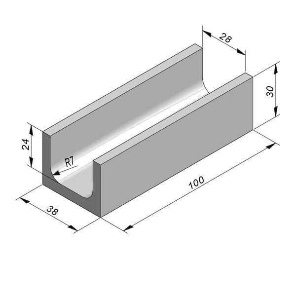 Product image for U-vormig - Deksel opliggend 28/38x24/30 cm Type kabel T28