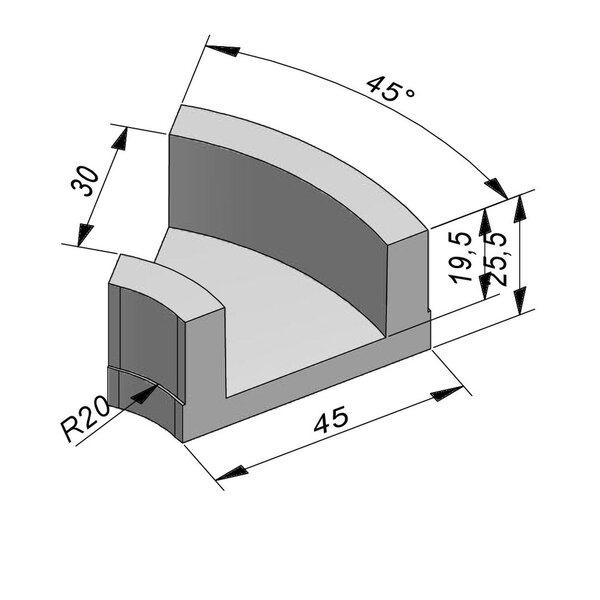 Product image for U-vormig - Deksel opliggend 30/45x19,5/25,5 cm Type kabel T30 bochtstuk 45°