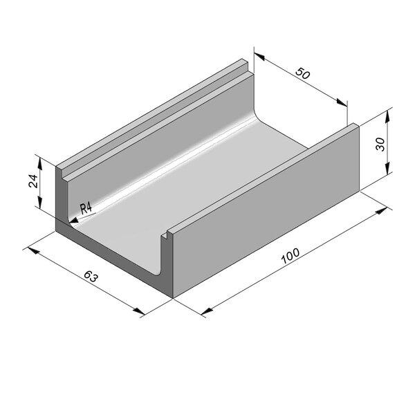 Product image for U-vormig - Deksel inliggend 100 cm x 50/63x24/30 cm Type kabel T50