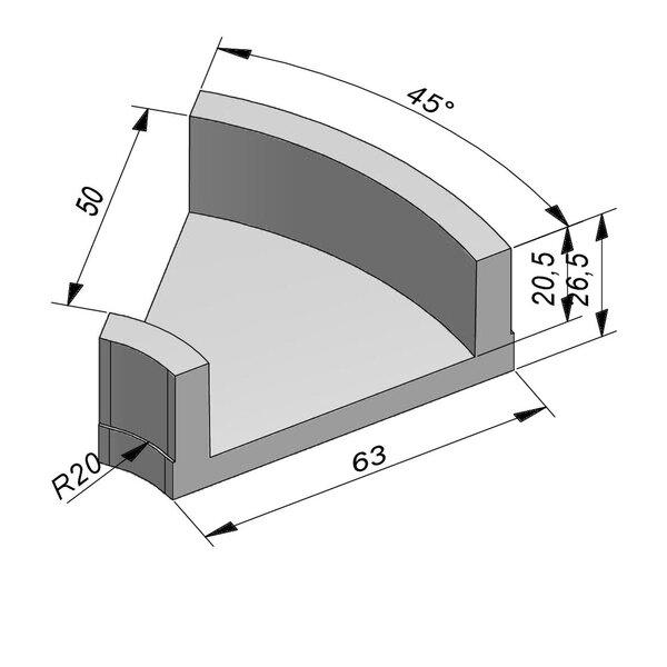 Product image for U-vormig - Deksel opliggend 50/63x20,5/26,5 cm Type kabel bochtstuk  T50