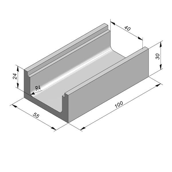Product image for U-vormig - Deksel inliggend 100 cm x 40/55x24/30 cm Type kabel T40