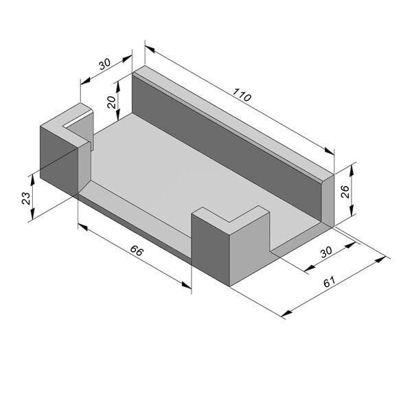 Product image for U-vormig - Deksel opliggend 45/60x20/26 cm Type kabel T30 T-stuk naar 2xT28