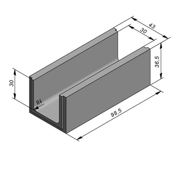 Product image for U-vormig - Deksel opliggend 98,5 cm x 30/43x30/36,5 cm Type water CRB2