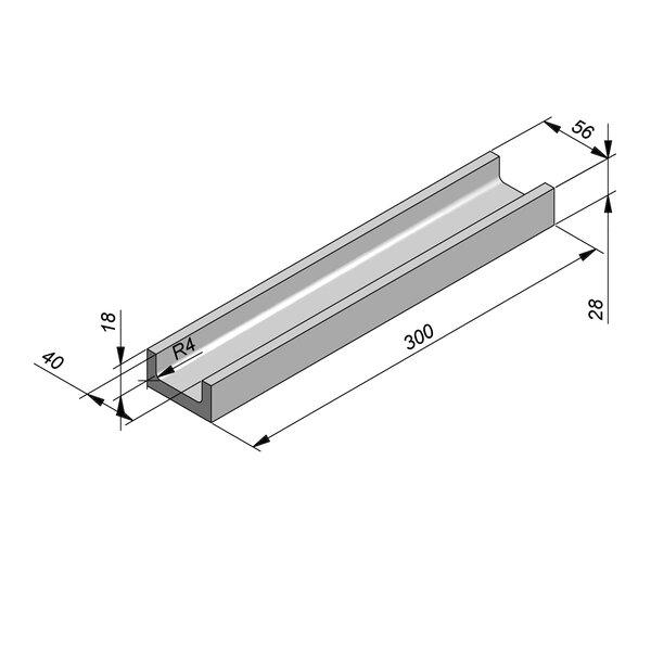 Product image for U-vormig - Deksel opliggend 300 cm x 40/56x18/28 cm Type kabel RTT18