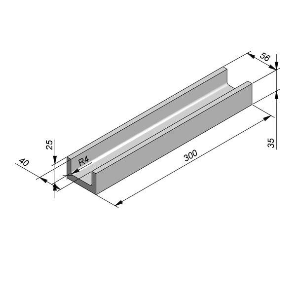 Product image for U-vormig - Deksel opliggend 300 cm x 40/56x25/35 cm Type kabel RTT25