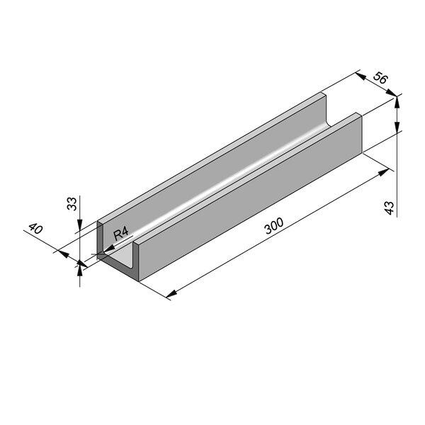 Product image for U-vormig - Deksel opliggend 300 cm x 40/56x33/43 cm Type kabel RTT33