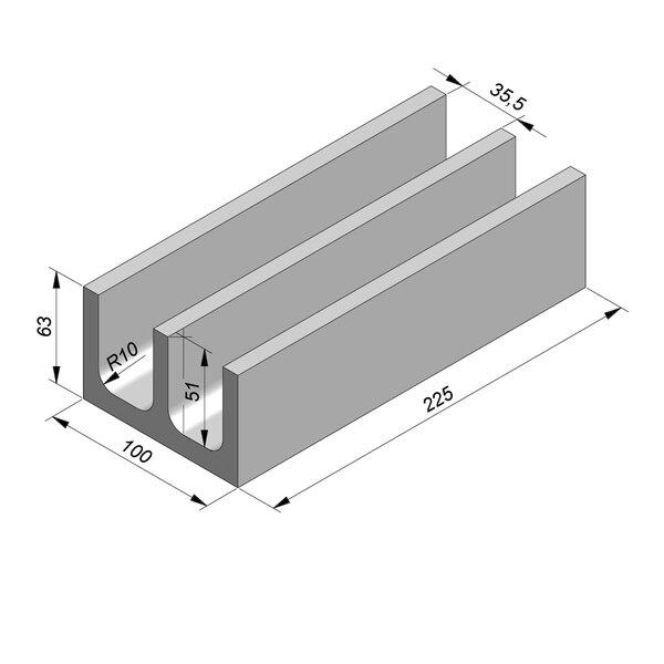 Product image for U-vormig - Deksel opliggend 225 cm x 35,5/35,5/100x51/63 cm Type kabel  dubbel