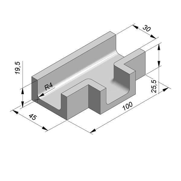 Product image for U-vormig - Deksel opliggend 30/45x19,5/25,5 cm Type kabel T28/T30 T-stuk