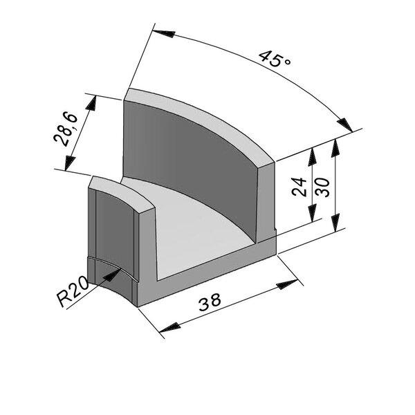 Product image for U-vormig - Deksel opliggend 28/38x24/30 cm Type kabel T28 bochtstuk 45°