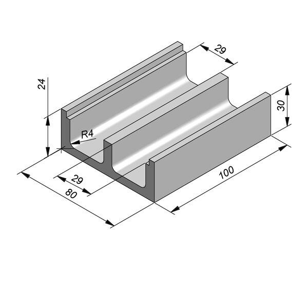 Product image for U-vormig - Deksel inliggend 29/29/80x24/30 cm Type kabel M80x30