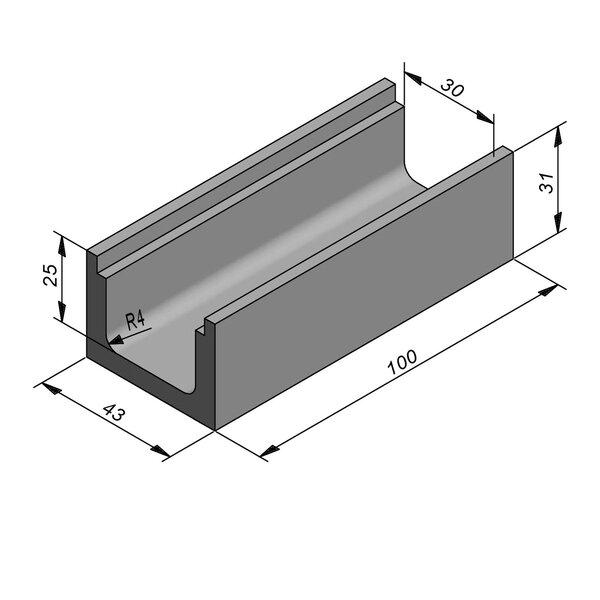 Product image for U-vormig - Deksel inliggend 30/43x25/31 cm Type kabel T30