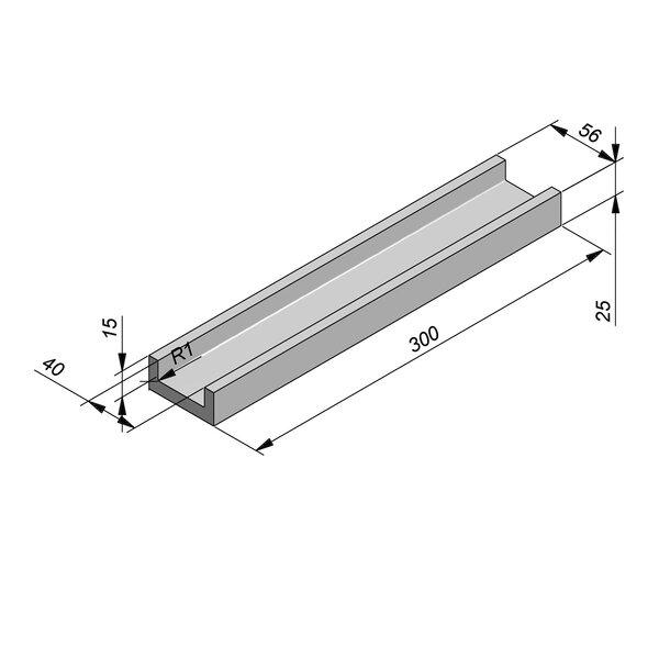 Product image for U-vormig - Deksel opliggend 300 cm x 40/56x15/25 cm Type kabel RTT15
