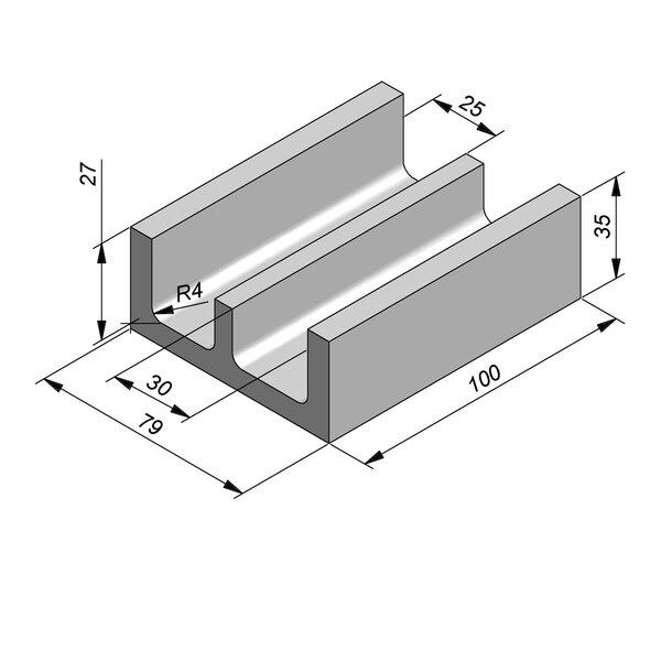 Product image for U-vormig - Deksel opliggend 100 cm x 25/30/79x27/35 cm Type kabel
