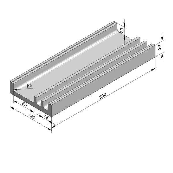 Product image for U-vormig - Deksel inliggend 300 cm x 14/14/60/120x20/30 cm Type kabel  3-compartimenten