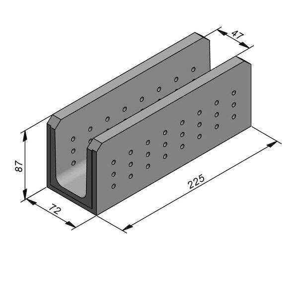 Product image for Greppel U-vormig - Deksel opliggend 225 cm x 50/72x75/87 cm FV50/87