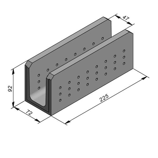 Product image for Greppel U-vormig - Deksel opliggend 225 cm x 50/72x80/92 cm FV50/92