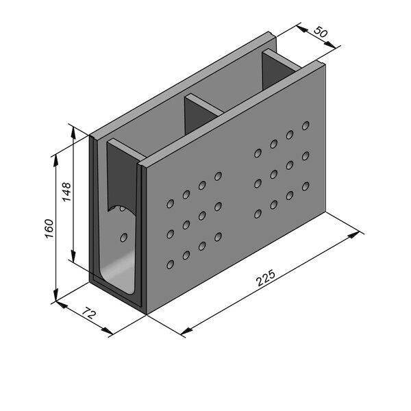 Product image for Greppel U-vormig - Deksel opliggend 225 cm x 50/72x148/160 cm FV50/160