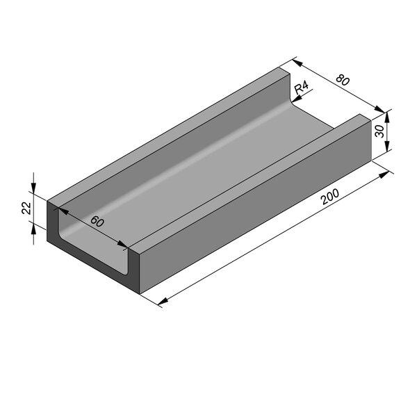 Product image for U-vormig - Deksel opliggend 200 cm x 60/80x22/30 cm Type kabel PI.ES