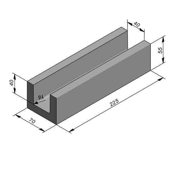 Product image for U-vormig - Deksel opliggend 225 cm x 40/70x40/55 cm Type kabel
