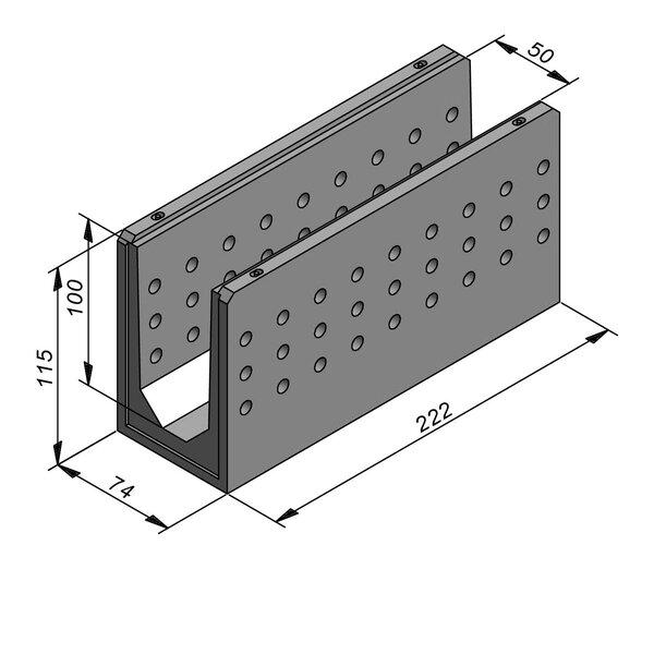 Product image for Greppel U-vormig - Deksel inliggend 222 cm x 50/74x100/115 cm FV50/110