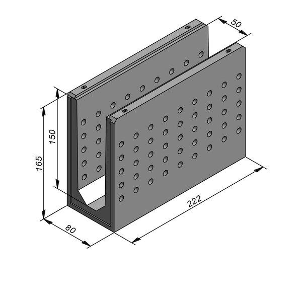 Product image for Greppel U-vormig - Deksel inliggend 222 cm x 50/80x150/165 cm FV50/165