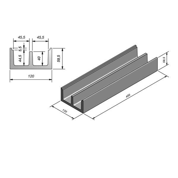 Product image for U-vormig - Deksel inliggend 379 cm x 46/46/120x50/60 cm Type kabel  dubbel